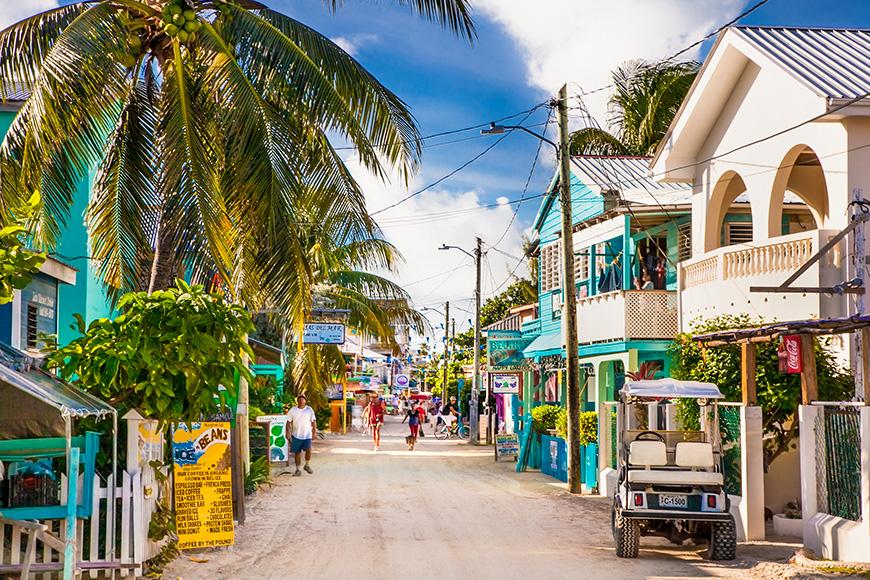 Playa Asuncion street at Caye Caulker island in Belize