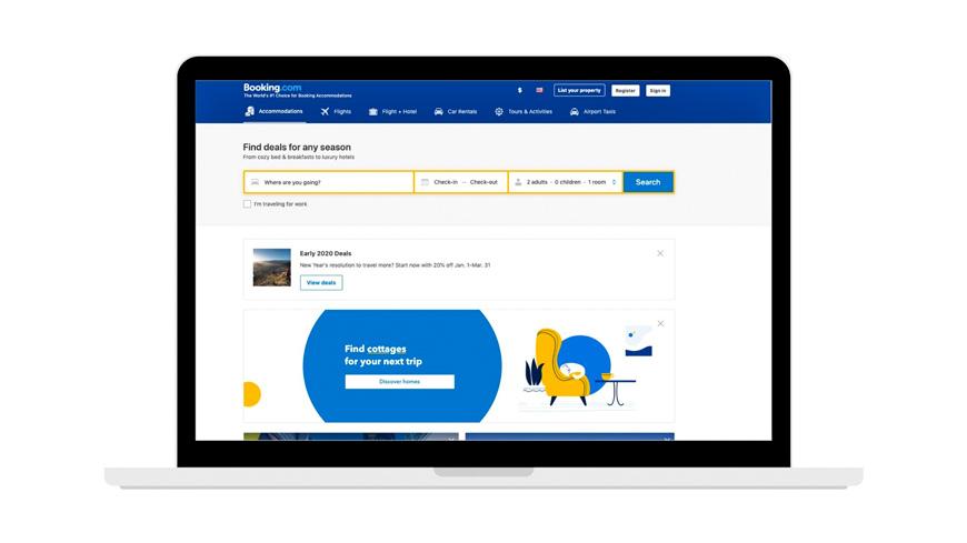 لقطة شاشة لموقع حجز الفنادق من Booking.com