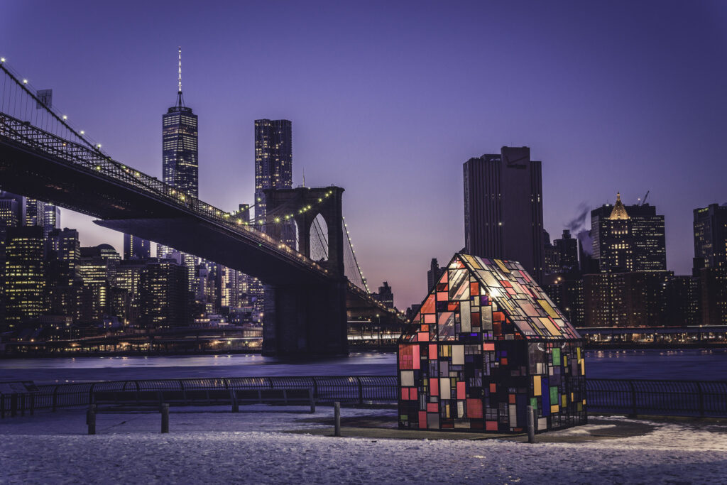 nyc skyline view in winter with bridge