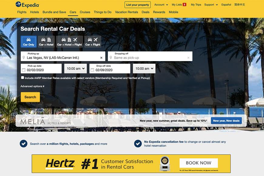 expedia cars screenshot.