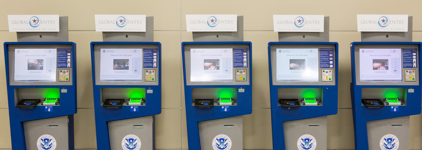 Global Entry and APC Kiosks, located at international airports across the nation, streamline the passenger's entry into the United States.