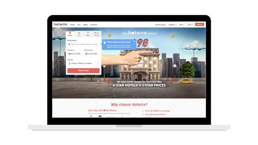 hotwire hotel booking site screenshot