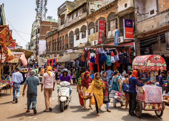 Busy crowded street market in India