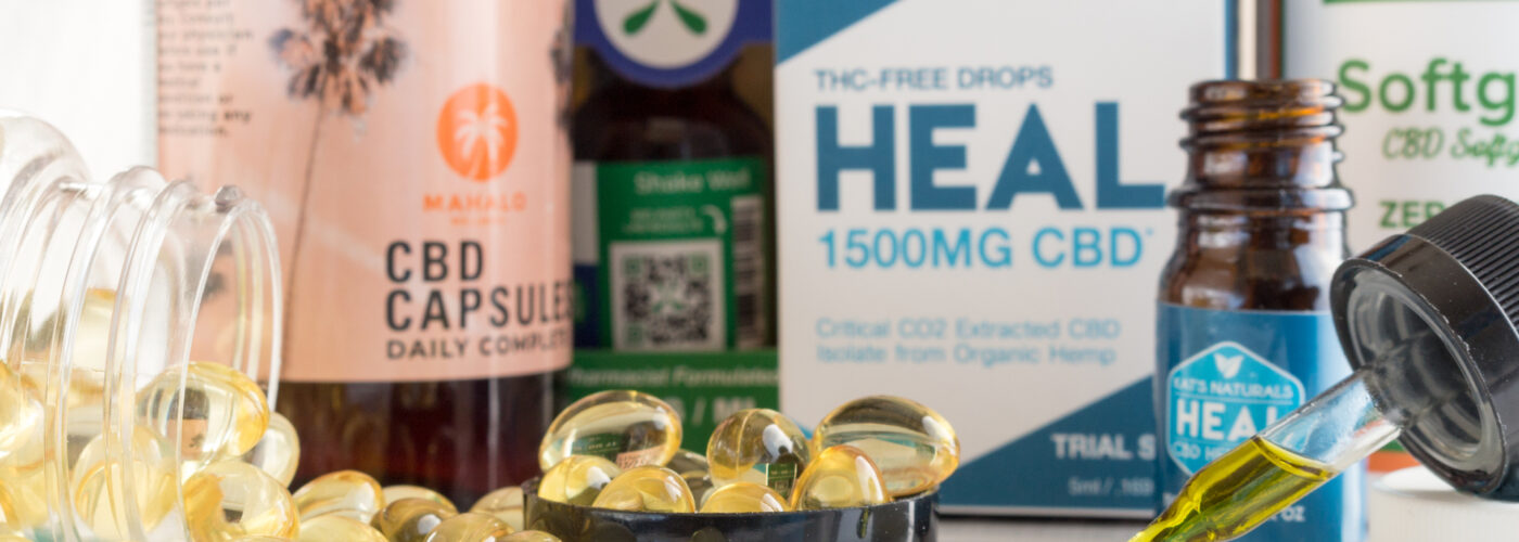 array of cbd oil products