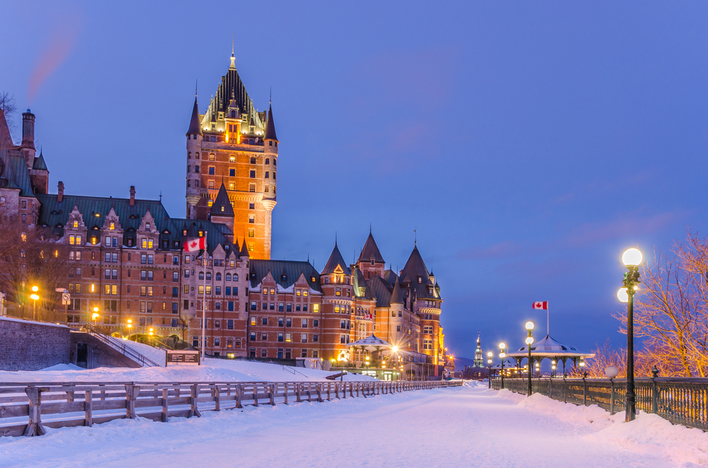 quebec city iconic hotel with snow