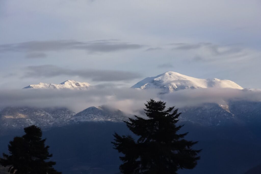 snow capped mountains in greece