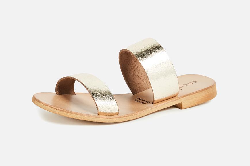 Cocobelle Leather Slide Sandals.
