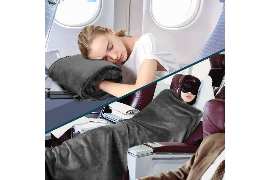 Pavilia Fleece Travel Blanket Pillow.