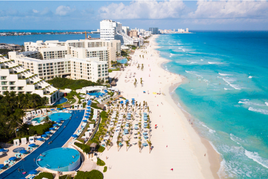 aerial view of Cancun Mexico.