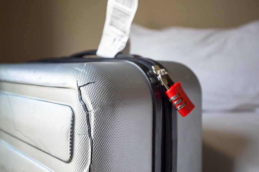 damaged suitcase
