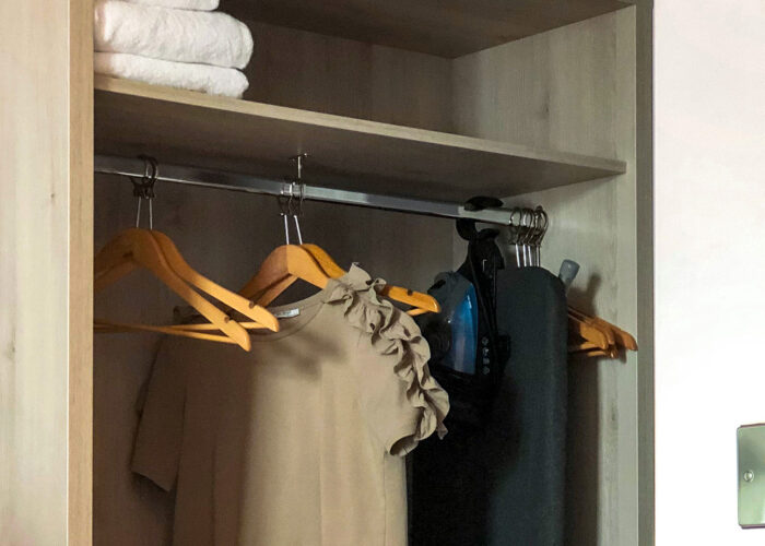hanging shirt or dress hangers closet hotel room