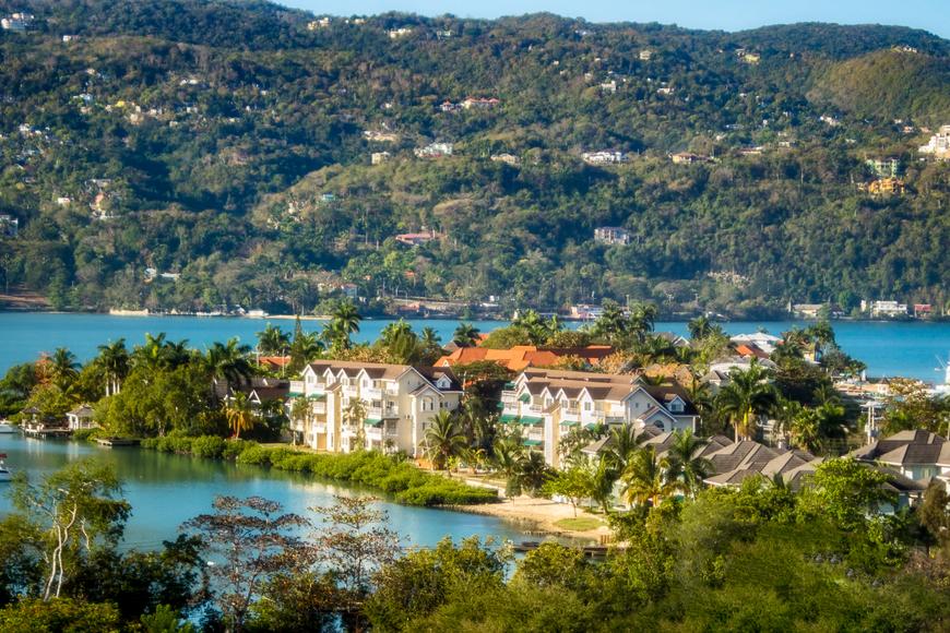 panoramic view of montego bay jamaica caribbean.