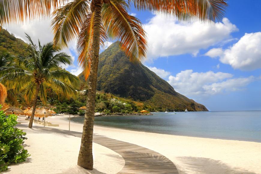 St. Lucia Caribbean white sand beach.