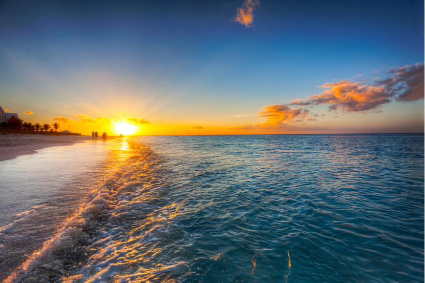 sunset over grace bay turks and caicos.