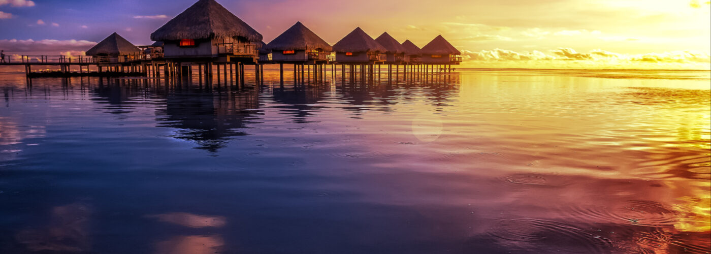 tahiti resort sunset.