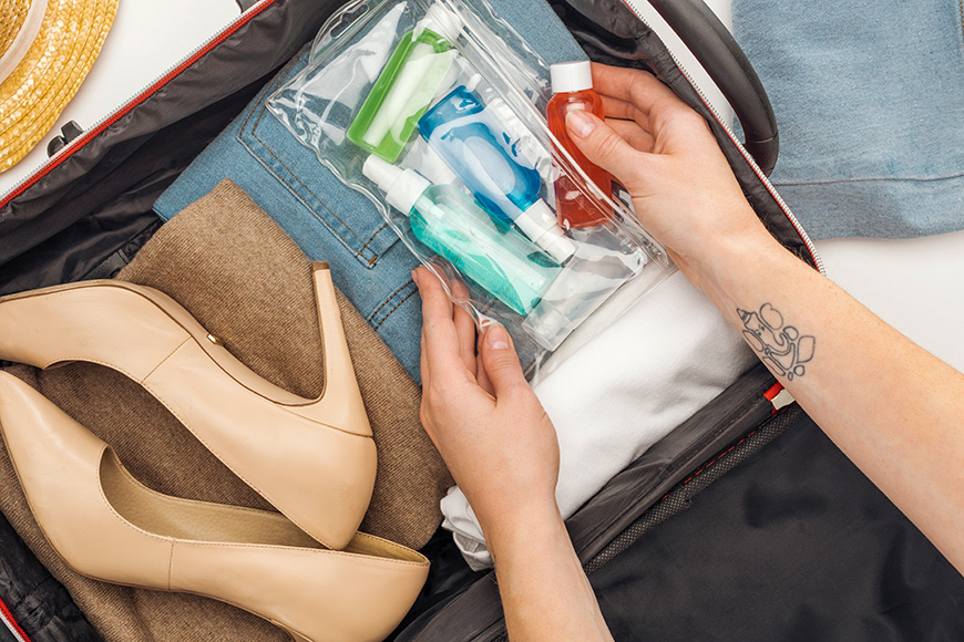 toiletry bag cosmetics in luggage