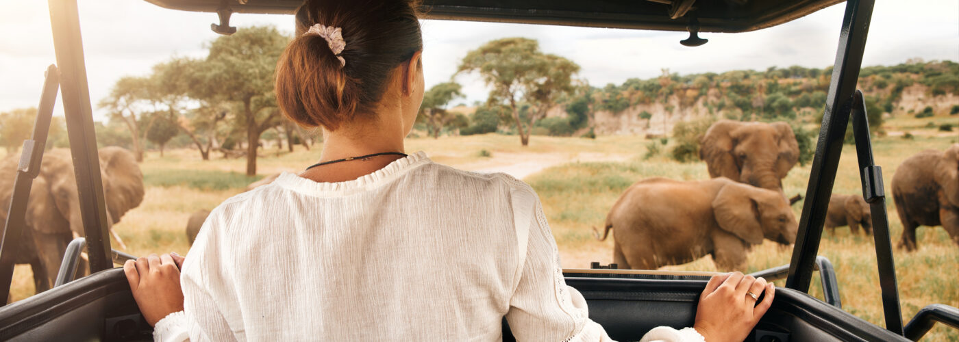 woman tourist on african safari.