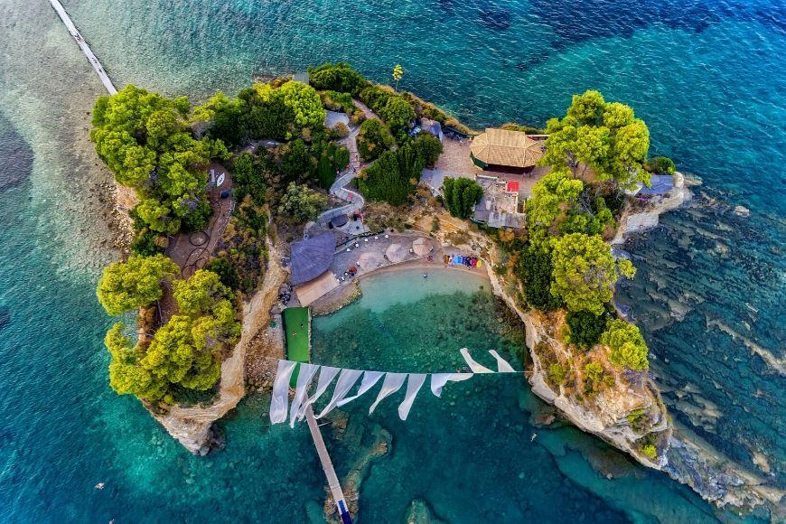 aerial view agios sosts zakynthos greece