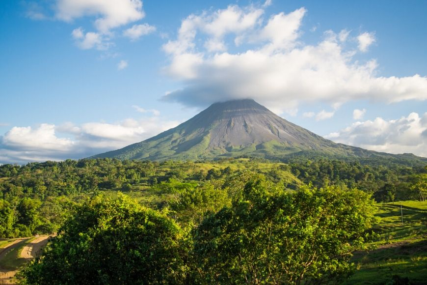 Arenal volcano in clouds Costa Rica.