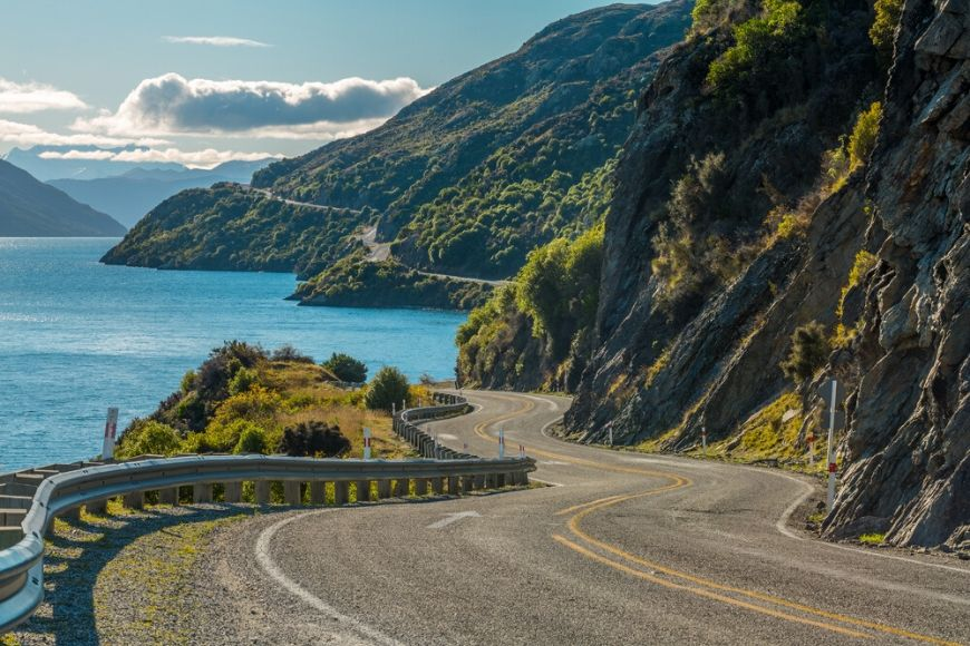 Road Lake Wakatipu Queenstown New Zealand.