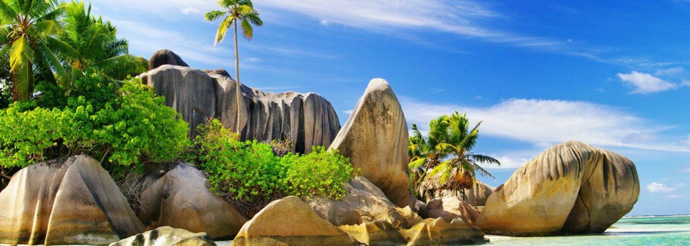 The Seychelles Beach and Rocks