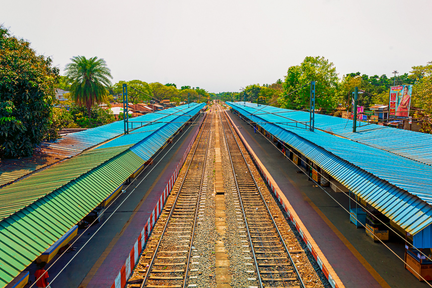 Railway platform is empty in West Bengal, India Kolkata
