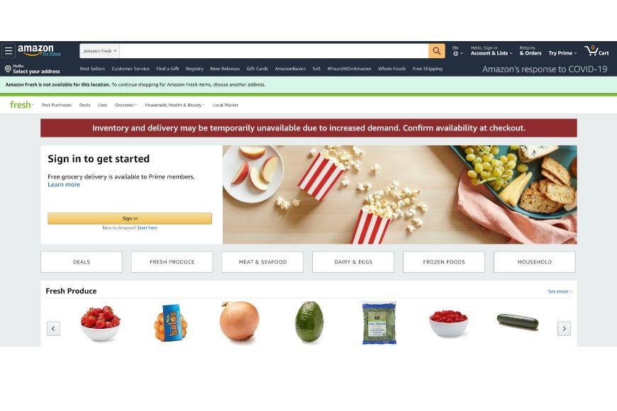 amazon fresh homepage.