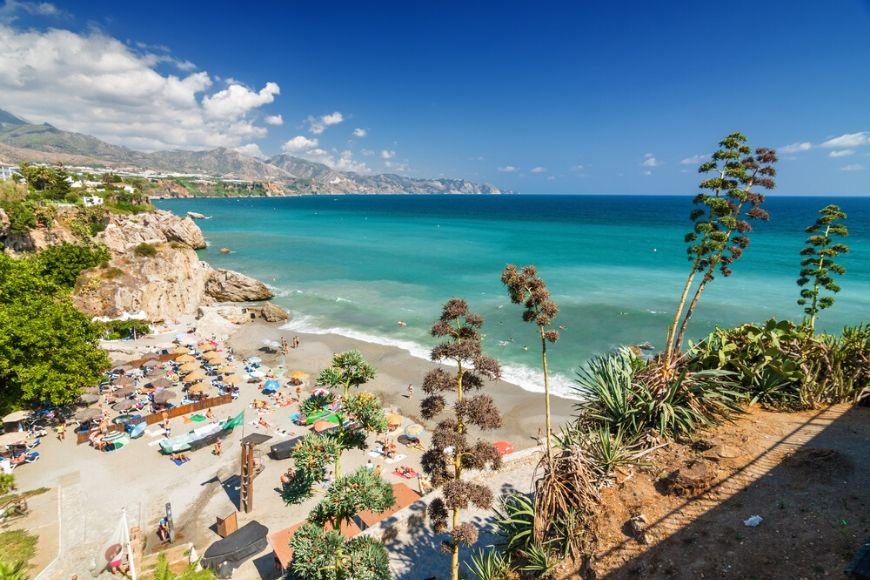 beach nerja andalusia spain.