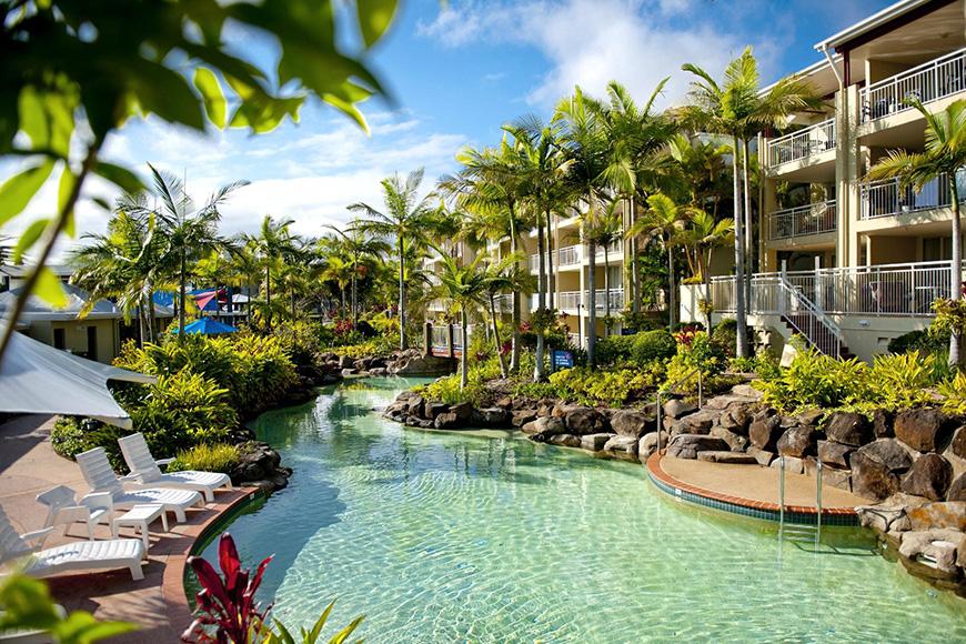 BreakFree Alexandra Beach outdoor pool and hotel room balconies