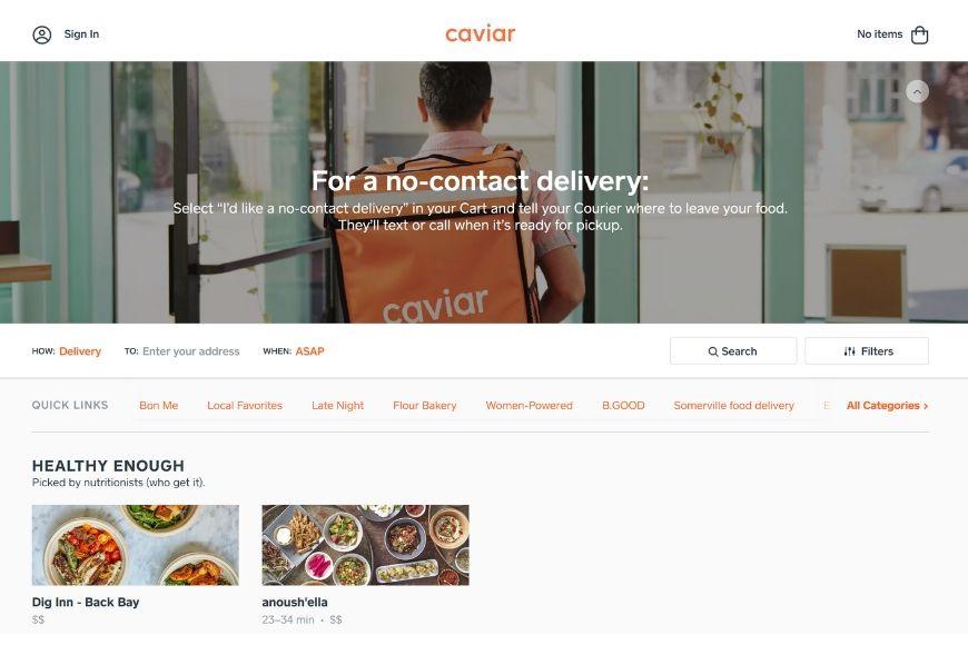caviar homepage.