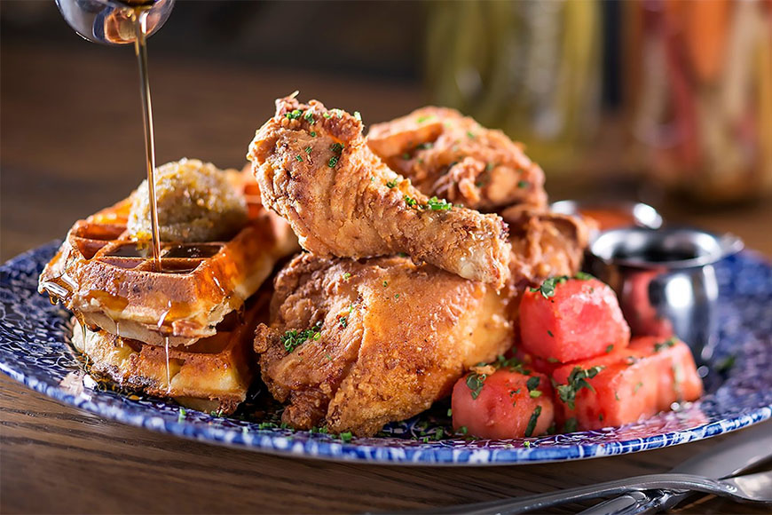 chicken watermelon and waffles at yardbird miami beach.