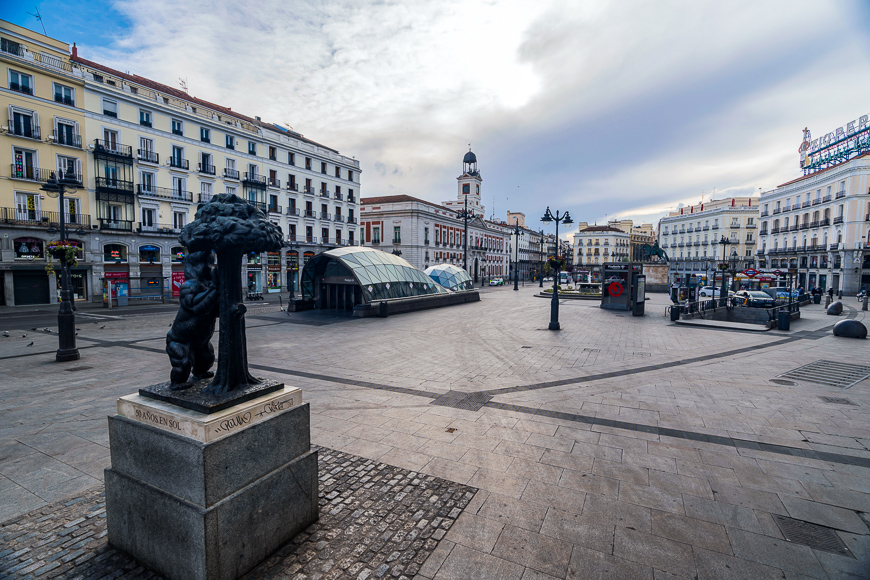 Empty puerta del sol in Madrid Spain