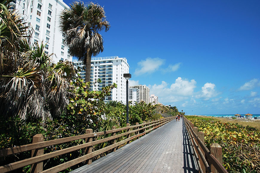 miami beach boardwalk.