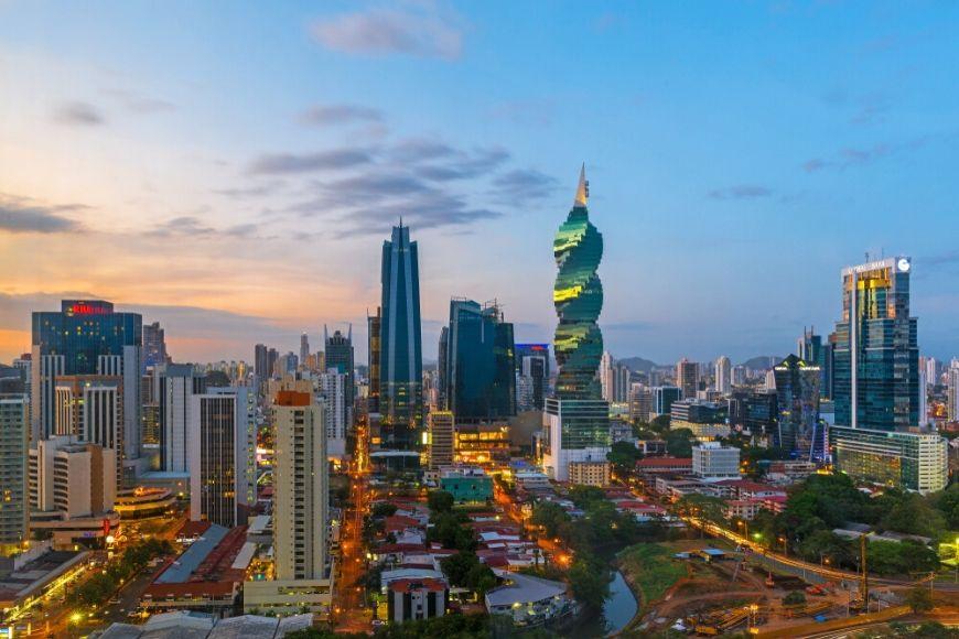 panama city skyline at sunset panama.