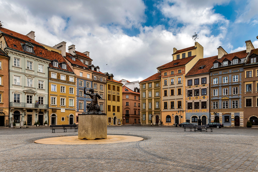 Empty Old Town Square in Warsaw , Poland