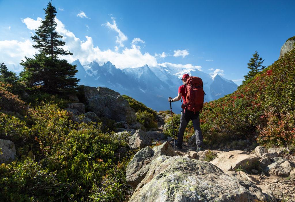 A man hiking the Tour du Mont Blanc