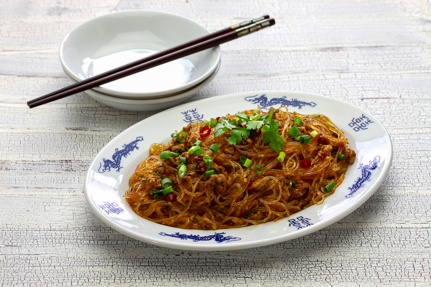 "spicy stir fry vermicelli with minced pork, classic Sichuan dish in chinese cuisine called "" Ants climbing a tree """