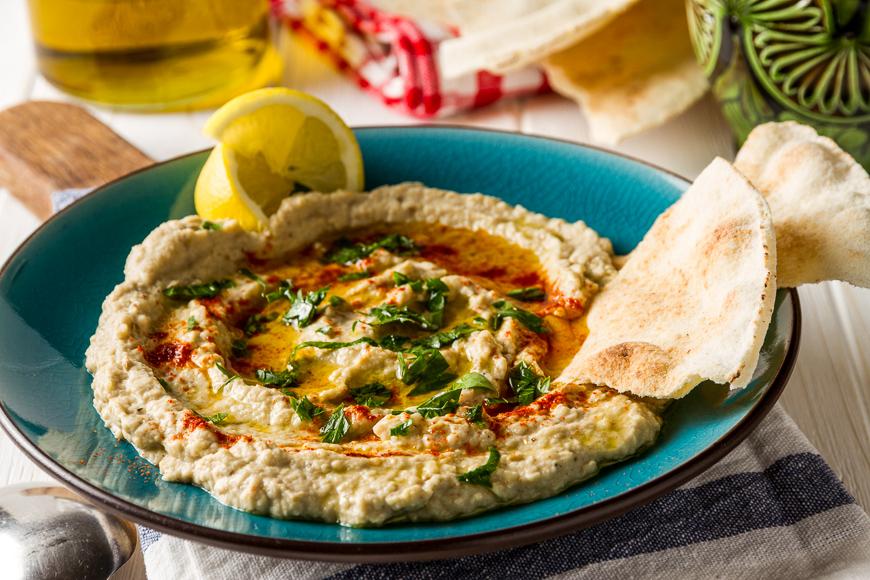 Baba ganoush, arabian appetizer from tahini and baked eggplant,