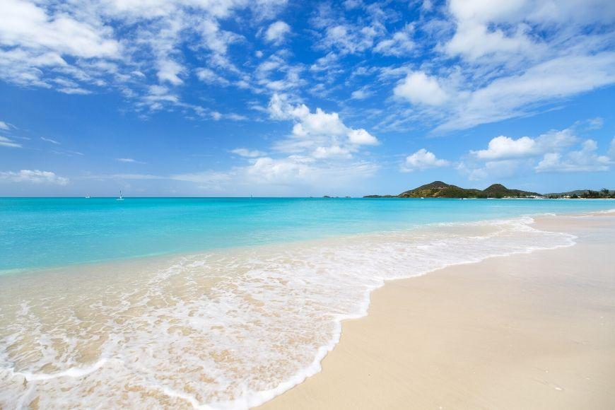 antigua caribbean pristine beach.
