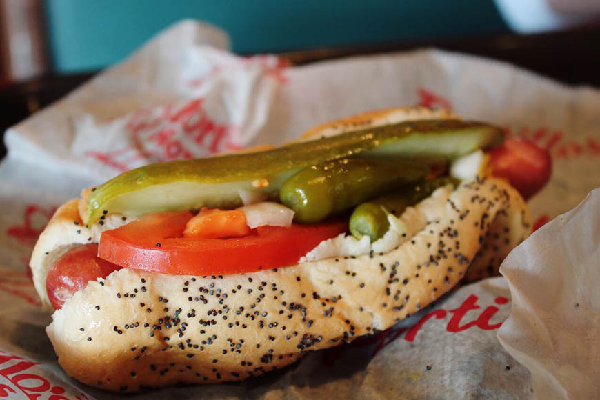 chicago style hot dog.