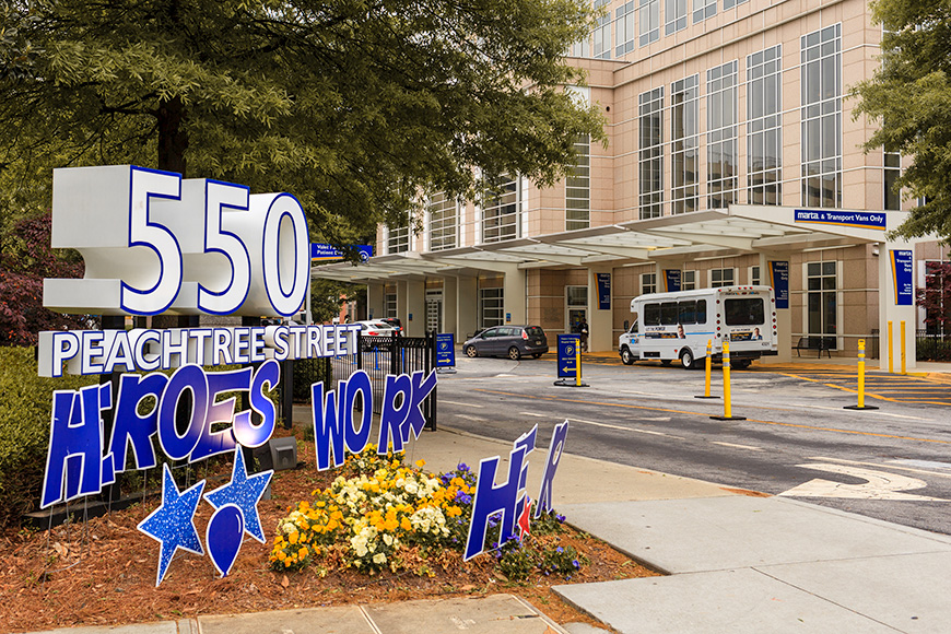 Emory Hospital entrance; signs of support during the COVID-19 pandemic