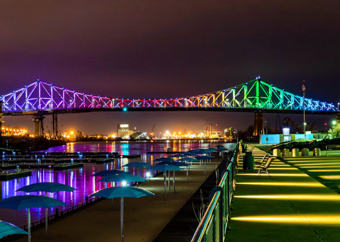montreal rainbow bridges lit up