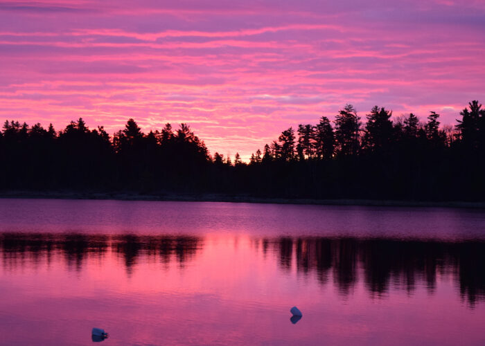 sunrise over moosehead lake maine.