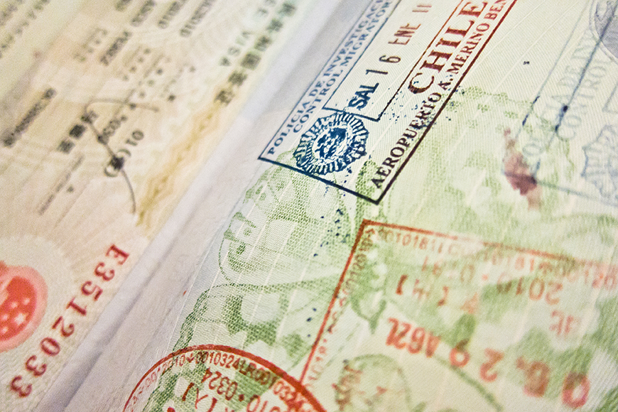 passport stamps close up