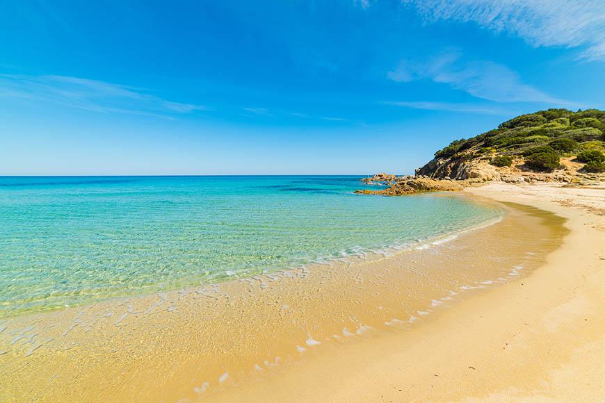 cala sinzias beach sardinia costa rei italy.