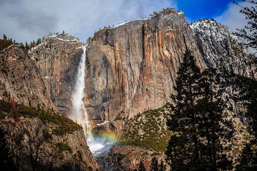 yosemite falls with rainbow.