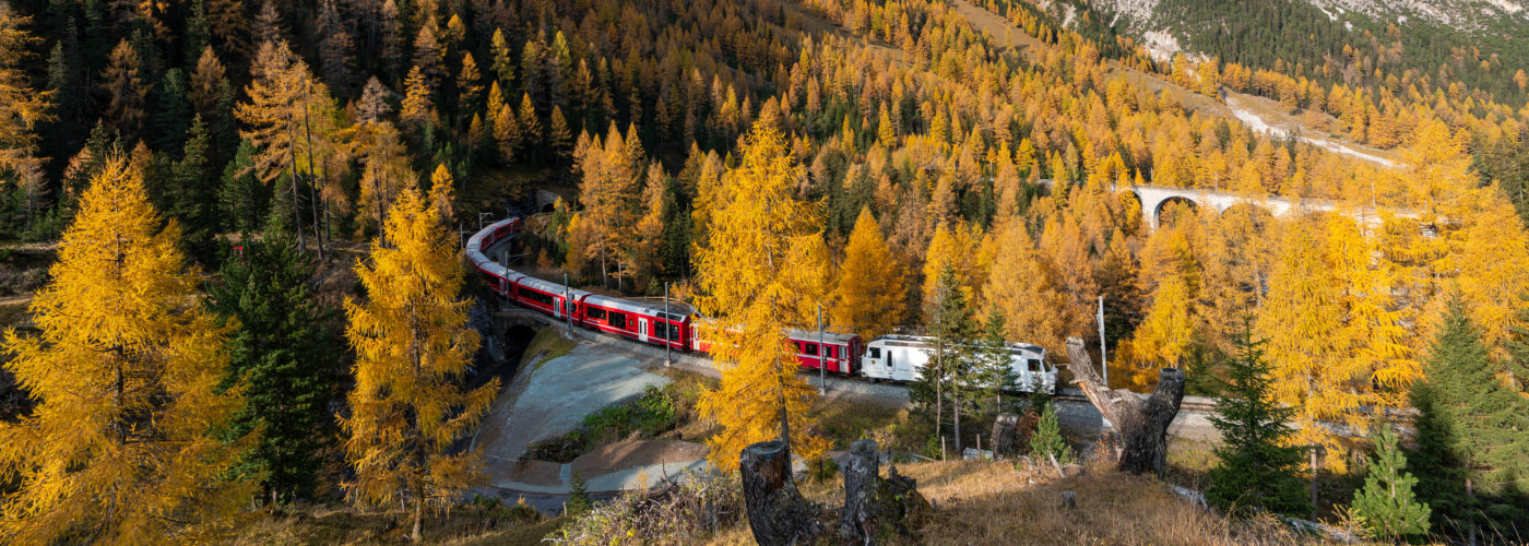 Train winding through mountains and forest in fall