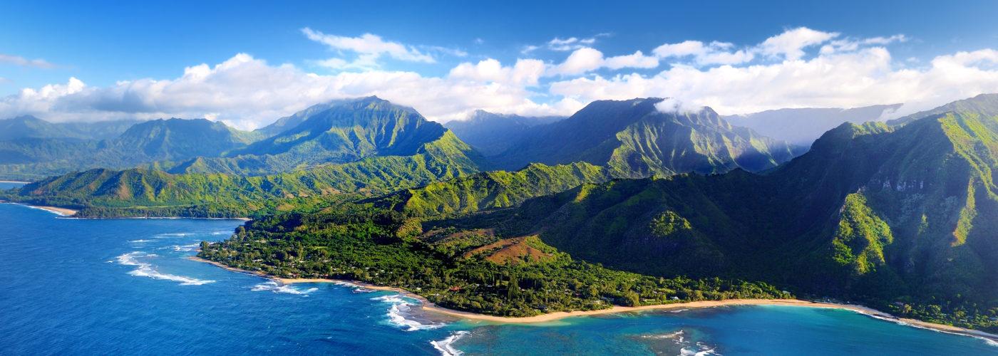 Aerial view of Nā Pali Coast, Kauai
