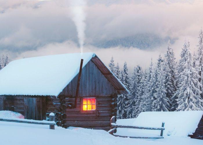 cozy winter cabin.