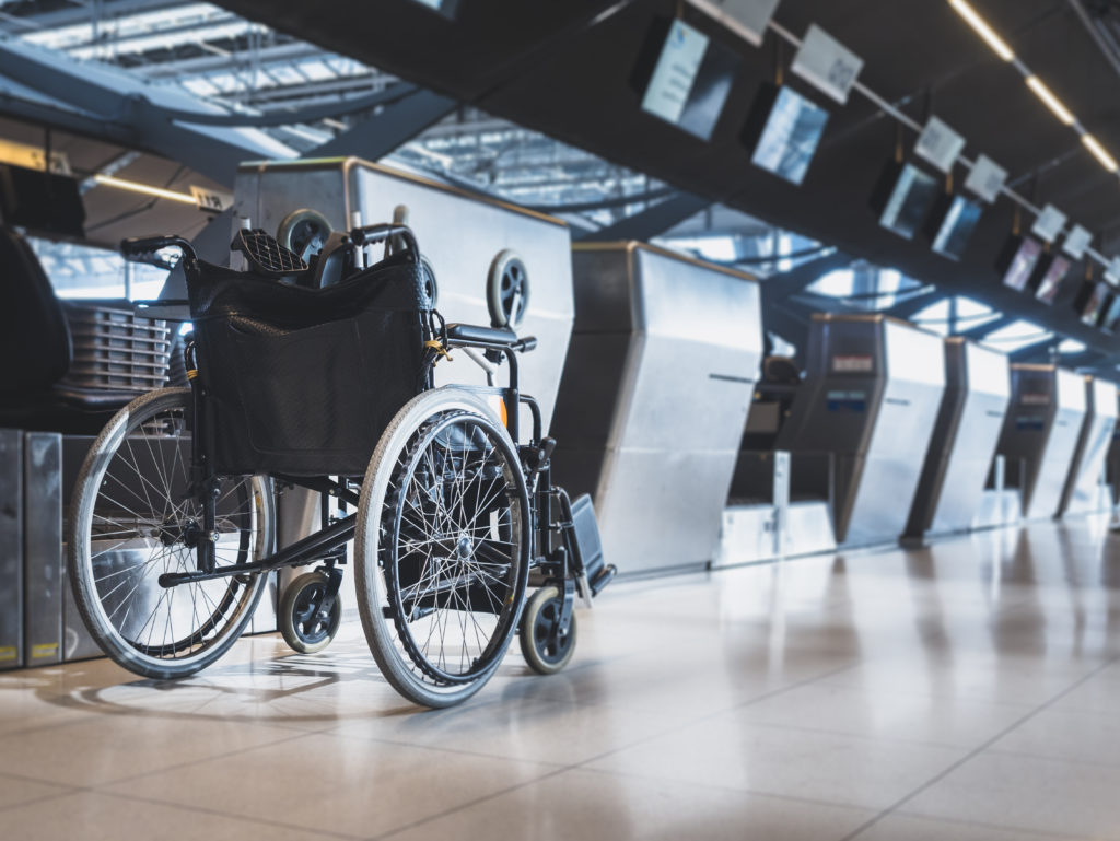 Wheelchair at airport check in desk
